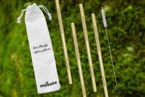 4x bambusová slamka + vrecko