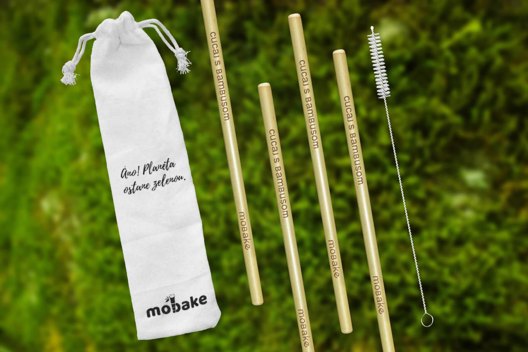 Mobake Balenie Bambusových slamiek 4 ks + Vrecko + Čistiaca kefka