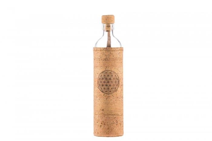 sklenená ekologická Flaska Flower of life, kvet zivota, mobake