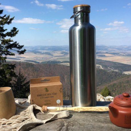 Nerezová Termo fľaša 1000 ml, outdoor termoska, Bambusový pohárik, mobake