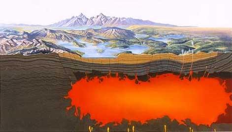 yellowstone magmaticka dutina, supervulkan, supervulkan, klimaticka streda, mobake, trhliny v zemi, klimaticke zmeny