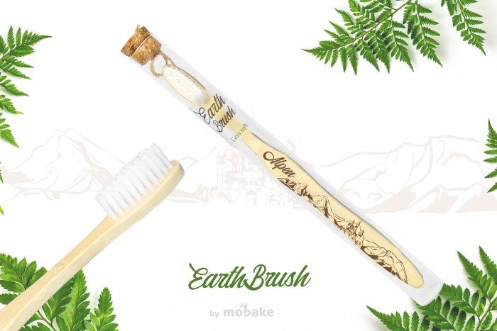 EarthBrush Alpen - zubná kefka suvenír, bambusová kefka Mobake