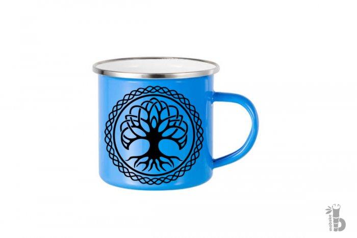 Smaltovaný hrnček strom života modrý